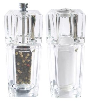 Acrylic Square Pepper Mill & Salt Shaker
