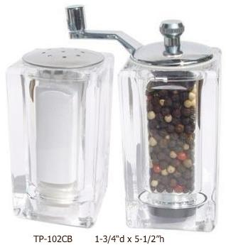 Acrylic Pepper Mill & Salt Shaker